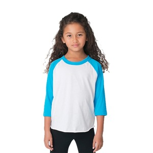American Apparel Kids' Unisex Poly-Cotton 3/4 Sleeve Raglan