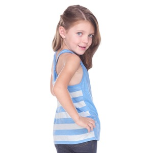 Toddler Sheer Jersey Cntrst Striped Back Knot-Back Tank