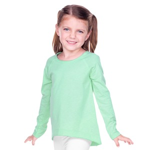 Toddler Sheer Jersey Raw Edge Raglan High Low Long Sleeve
