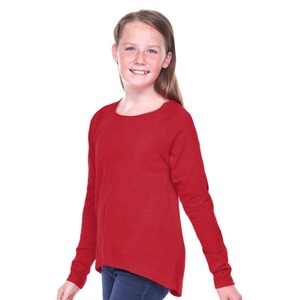 Girls Sheer Jersey Raw Edge Raglan High Low Long Sleeve