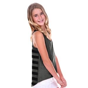 Girls Striped Jersey Contrast Back High Low Tank