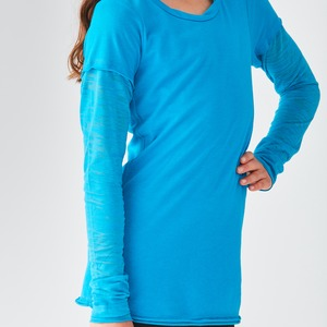 Girls Raw Edge Two-Fer Burnout Long Sleeve