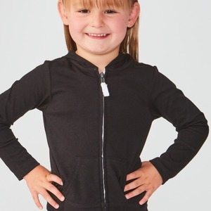 Little Girls 3-6X Jersey Long Sleeve Zip Up Hoodie