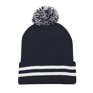 Striped Cuff Pom Pom Toque