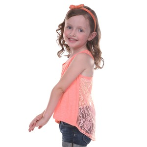 Little Girls 3-6X Jersey High Low Lace Back Tank